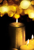 Golden Christmas Candles and spheres — Stock Photo