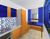 Blue and orange model of the kitchen — Stock Photo