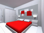 Grey-red bedroom — Stock Photo