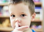 Picking nose fun looking ey — Stock Photo