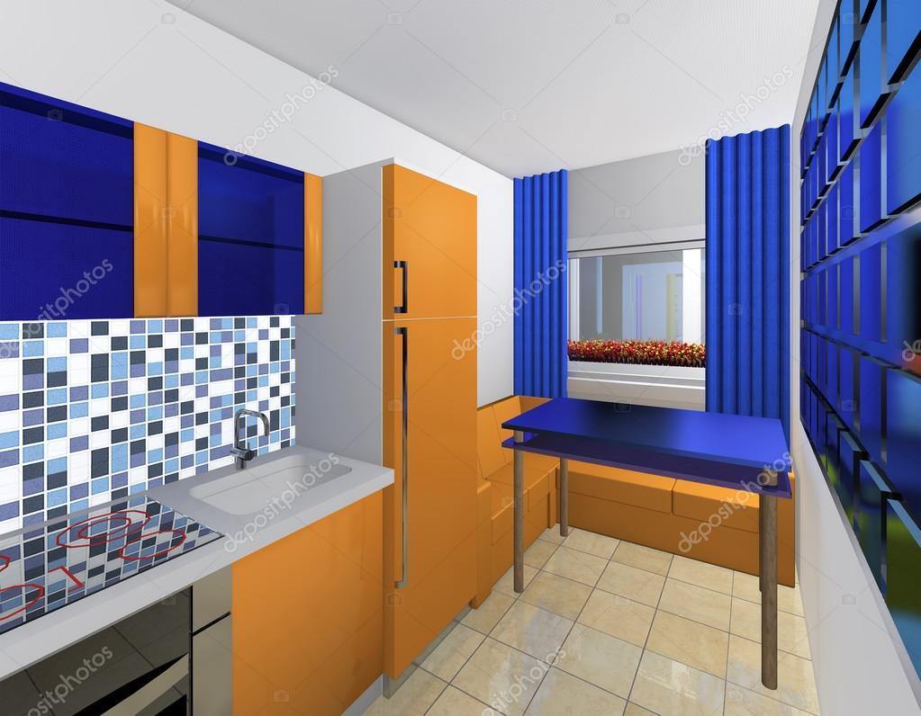 Modèle bleu et orange de la cuisine — photographie irogova © #35413545