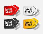 Latest news, realistic design elements — Stock Vector