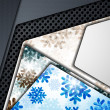 Layered abstract background with snowflakes image — ベクター素材ストック