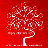 Valentine background with a love tree — 图库矢量图片