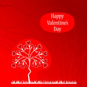 Valentine background with a love tree — Vector de stock