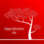 Valentine background with a love tree — Vettoriale Stock