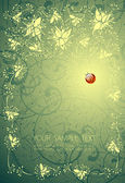 Floral background and the ladybird — Stockvektor