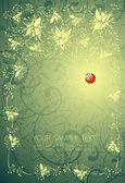 花の背景と、テントウムシ — ストックベクタ