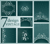Set of Vintage Floral Frame — Vecteur