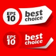 Sticker best choice label red set — Stock Vector
