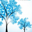 Stock Vector: Winter background, a tree in the snow