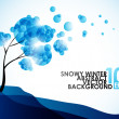 Winter background, a tree in the snow — Stock Vector