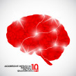 Human brain, aggressive intentions — Stock Vector