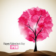 Stock Vector: Valentine tree, abstract background