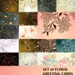 Set of floral greeting cards — Image vectorielle