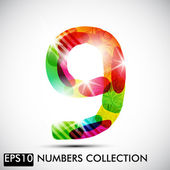 Number nine — Stock Vector