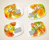 Autumn discount sale sticker set — Cтоковый вектор