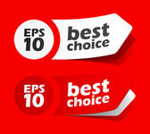 Sticker best choice label red set — Stok Vektör