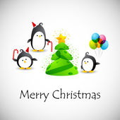 Merry christmas card with penguins — Vettoriale Stock