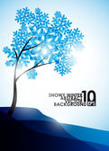Zimowe tło, drzewo w śniegu — Wektor stockowy