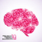 Human brain, pink dream — Stock Vector