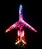 Airplane, neon abstract background — Stok Vektör