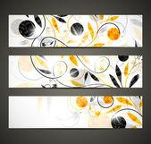 Bannière avec motif floral — Vecteur