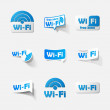 Stock Vector: Free Zone wi-fi, sticker