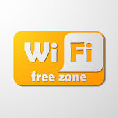 Zona livre acesso wi-fi, etiqueta — Vetor de Stock