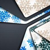 Слоистый абстрактный фон с изображением снежинок — Cтоковый вектор