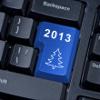 Enter button on computer keyboard with Christmas tree. — Lizenzfreies Foto