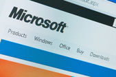 Main page Microsoft largest company producing software close-up — Stock Photo