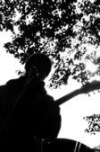 Silhouette musician with guitar. — Stock Photo
