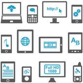 Conjunto de iconos de ordenadores y dispositivos móviles — Vector de stock