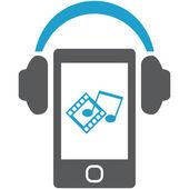 Smartphone with headphones. — Stock Vector