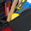 Tools in the toolbox on white background — Stock Photo