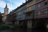 Houses on the shopkeepers bridge Erfurt, Germany. — Stock Photo