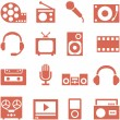Icon set of gadgets and devices in a retro style. — Stock Vector