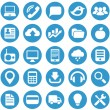 Icons for web site in blue circle. — Stock Vector
