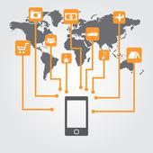 Smartphone met pictogrammen op de wereldkaart. — Stockvector