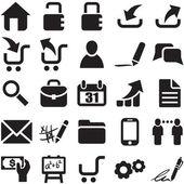 Vector black web icons — Stock Vector