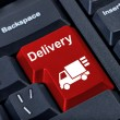 Stock Photo: Button with car delivery.