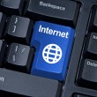Internet Button with globe. — Stock Photo