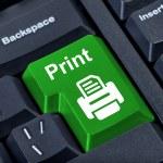 Print button with printer. — Stock Photo