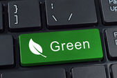 Green button keyboard with icon of leaf. — Stock Photo