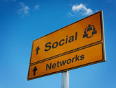 Social networks road sign. — Stock Photo