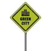зеленый город дорожный знак. — Cтоковый вектор