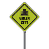 Green city road sign. — Stock Vector