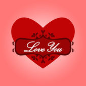Heart with words love you. — Stock Vector