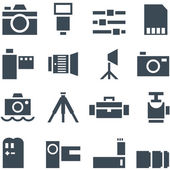 Set vector icons photo accessories. — Stock Vector